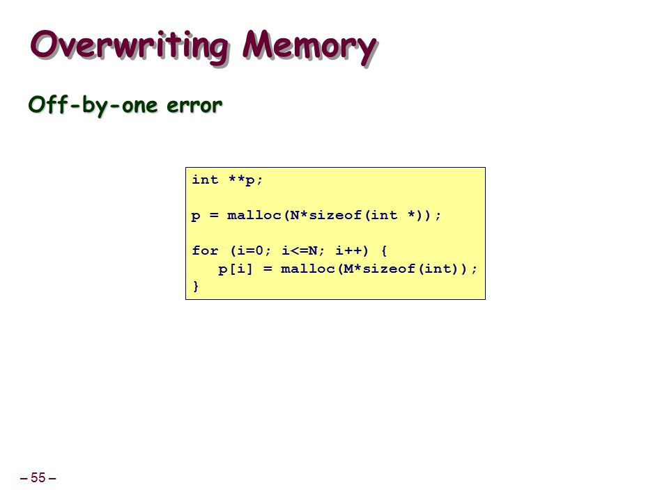 – 55 – Overwriting Memory Off-by-one error int **p; p = malloc(N*sizeof(int *)); for (i=0; i<=N; i++) { p[i] = malloc(M*sizeof(int)); }