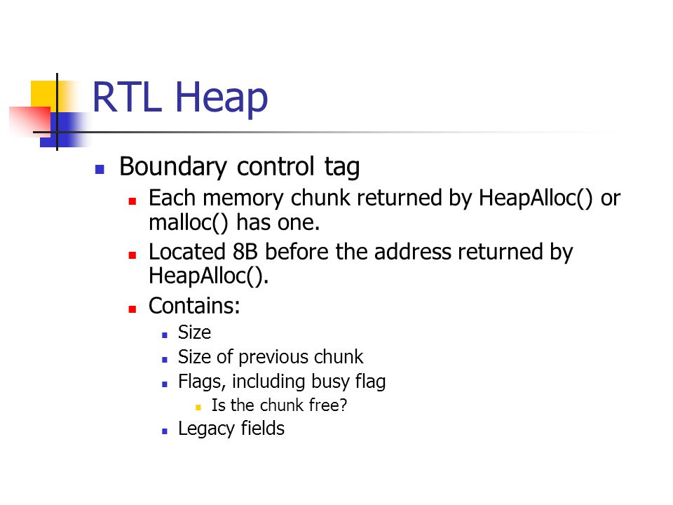 RTL Heap Boundary control tag Each memory chunk returned by HeapAlloc() or malloc() has one.