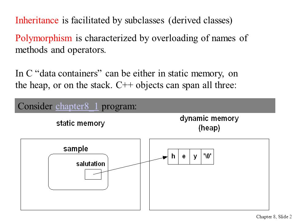 Chapter 8, Slide 2 Inheritance is facilitated by subclasses (derived classes) Polymorphism is characterized by overloading of names of methods and operators.
