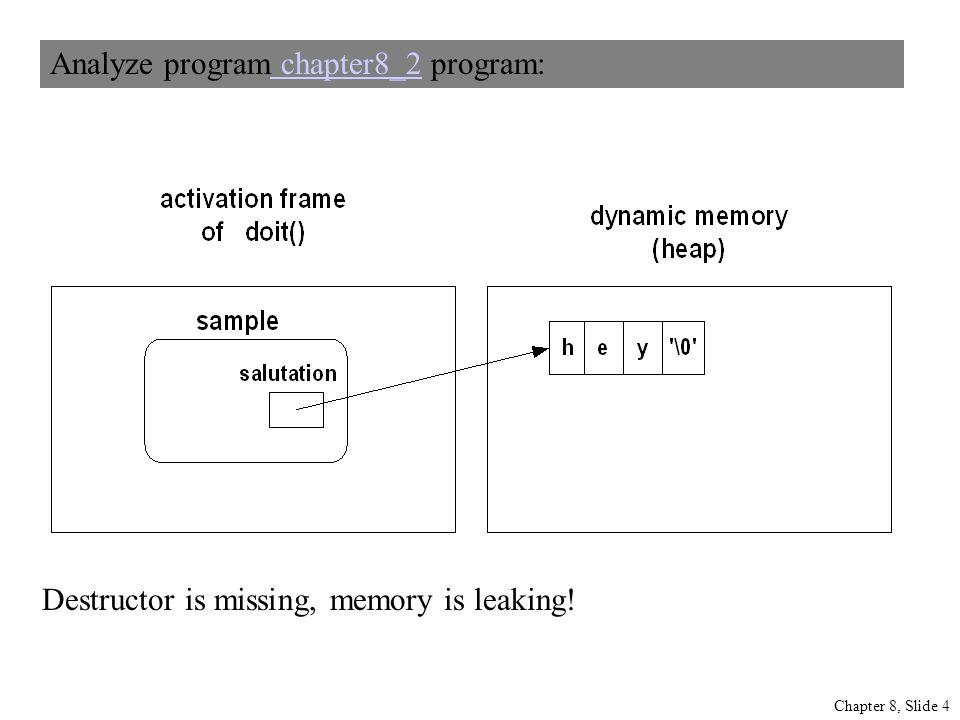 Chapter 8, Slide 4 Analyze program chapter8_2 program: chapter8_2 Destructor is missing, memory is leaking!