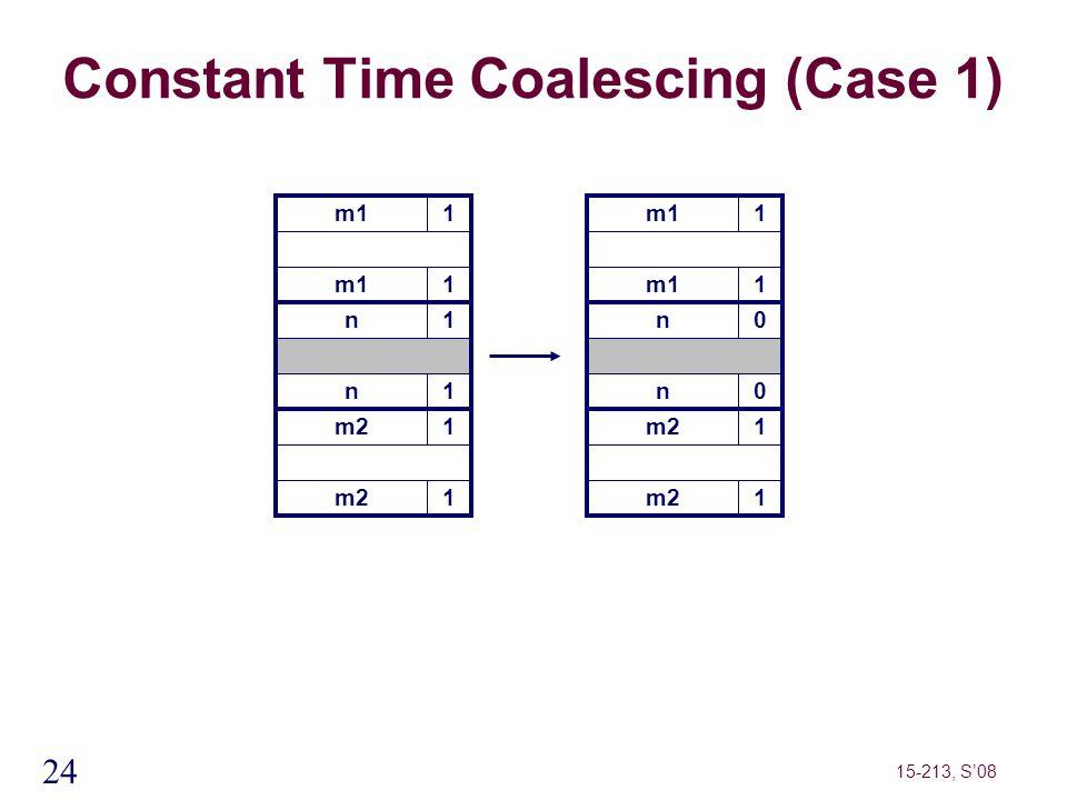 24 15-213, S'08 m11 Constant Time Coalescing (Case 1) m11 n1 n1 m21 1 m11 1 n0 n0 m21 1