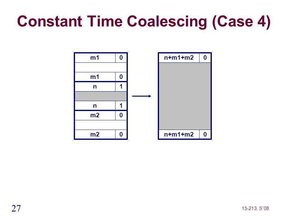 27 15-213, S'08 m10 Constant Time Coalescing (Case 4) m10 n1 n1 m20 0 n+m1+m20 0