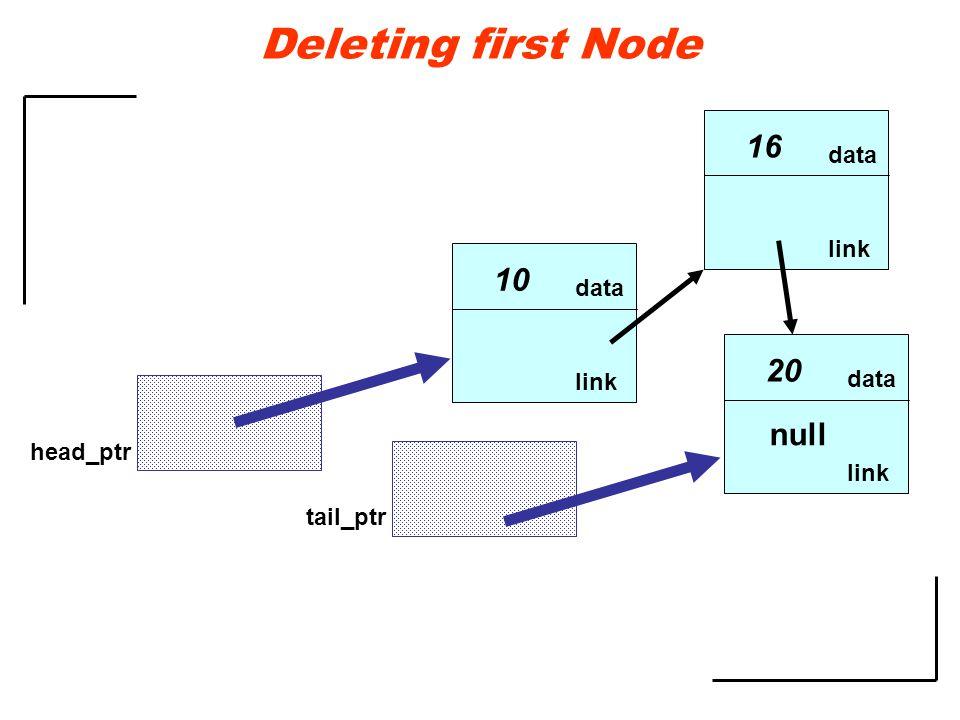 data link 10 data link 16 data link 20 null head_ptr tail_ptr Deleting first Node