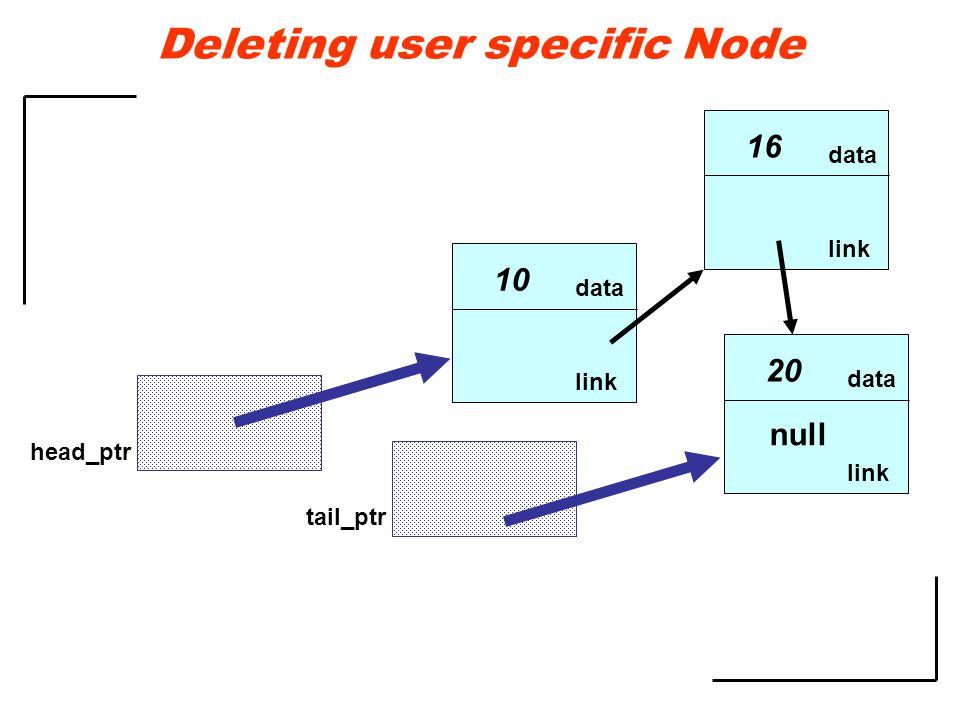 data link 10 data link 16 data link 20 null head_ptr tail_ptr Deleting user specific Node