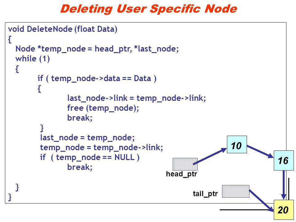 Deleting User Specific Node void DeleteNode (float Data) { Node *temp_node = head_ptr, *last_node; while (1) { if ( temp_node->data == Data ) { last_node->link = temp_node->link; free (temp_node); break; } last_node = temp_node; temp_node = temp_node->link; if ( temp_node == NULL ) break; } 10 head_ptr tail_ptr 1620