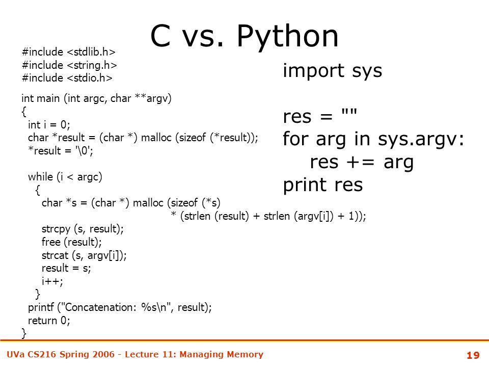 19 UVa CS216 Spring 2006 - Lecture 11: Managing Memory C vs.