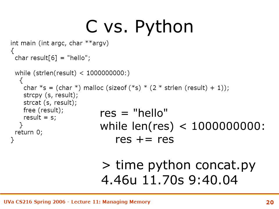 20 UVa CS216 Spring 2006 - Lecture 11: Managing Memory C vs.