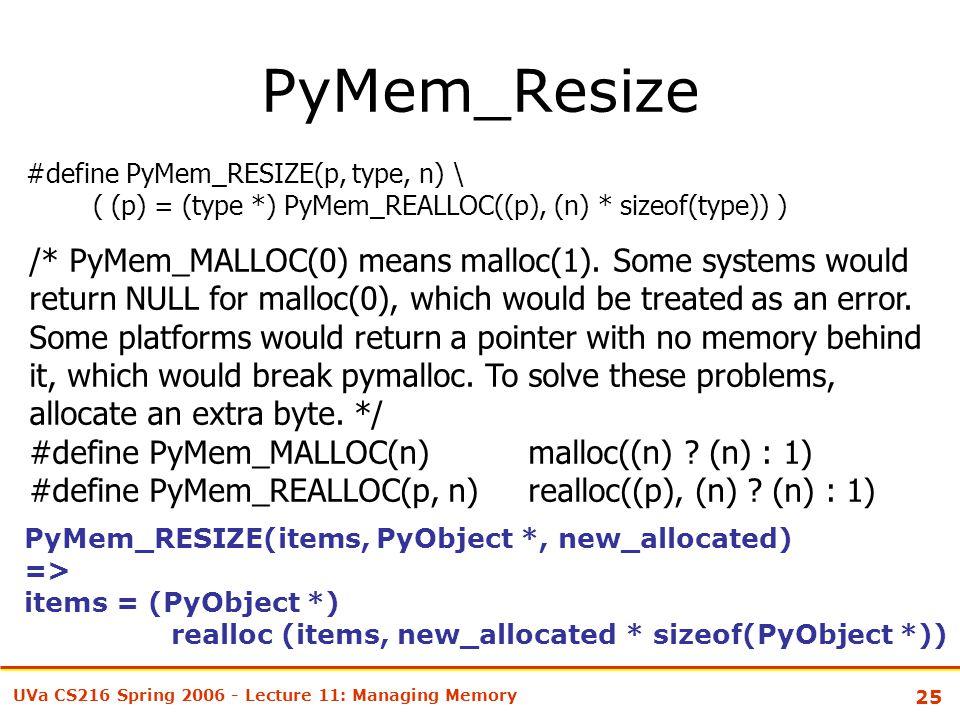 25 UVa CS216 Spring 2006 - Lecture 11: Managing Memory PyMem_Resize #define PyMem_RESIZE(p, type, n) \ ( (p) = (type *) PyMem_REALLOC((p), (n) * sizeof(type)) ) /* PyMem_MALLOC(0) means malloc(1).