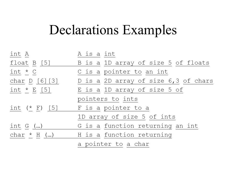 Declarations Examples int AA is a int float B [5]B is a 1D array of size 5 of floats int * CC is a pointer to an int char D [6][3]D is a 2D array of size 6,3 of chars int * E [5]E is a 1D array of size 5 of pointers to ints int (* F) [5]F is a pointer to a 1D array of size 5 of ints int G (…)G is a function returning an int char * H (…)H is a function returning a pointer to a char