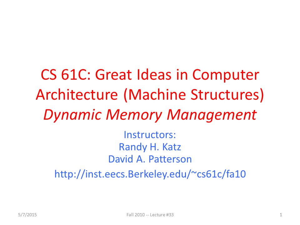 Using Memory You Don't Own Fall 2010 -- Lecture #33 32 Beyond stack read/write char *append(const char* s1, const char *s2) { const int MAXSIZE = 128; char result[128]; int i=0, j=0; for (j=0; i<MAXSIZE-1 && j<strlen(s1); i++,j++) { result[i] = s1[j]; } for (j=0; i<MAXSIZE-1 && j<strlen(s2); i++,j++) { result[i] = s2[j]; } result[++i] = \0 ; return result; } Function returns pointer to stack memory – won't be valid after function returns result is a local array name – stack memory allocated 5/7/2015