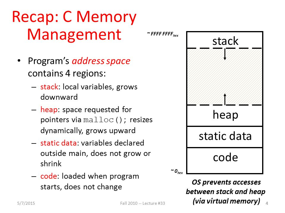 Recap: C Memory Management Program's address space contains 4 regions: – stack: local variables, grows downward – heap: space requested for pointers via malloc() ; resizes dynamically, grows upward – static data: variables declared outside main, does not grow or shrink – code: loaded when program starts, does not change code static data heap stack OS prevents accesses between stack and heap (via virtual memory) ~ FFFF FFFF hex ~ 0 hex 5/7/2015Fall 2010 -- Lecture #3344