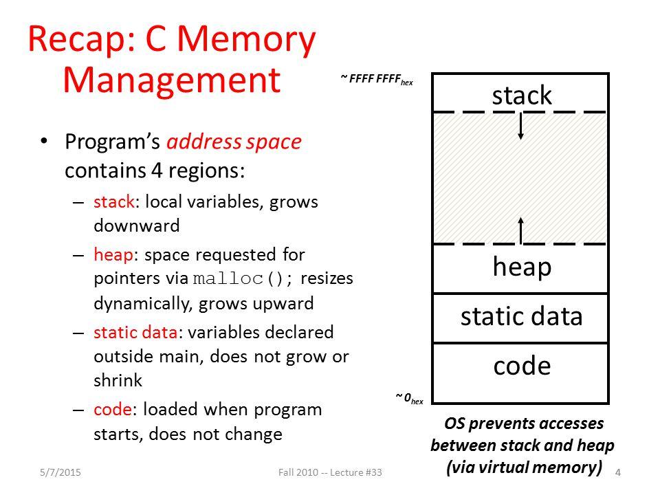 Agenda C Memory Management Administrivia Technology Break Example 5/7/201515Fall 2010 -- Lecture #33