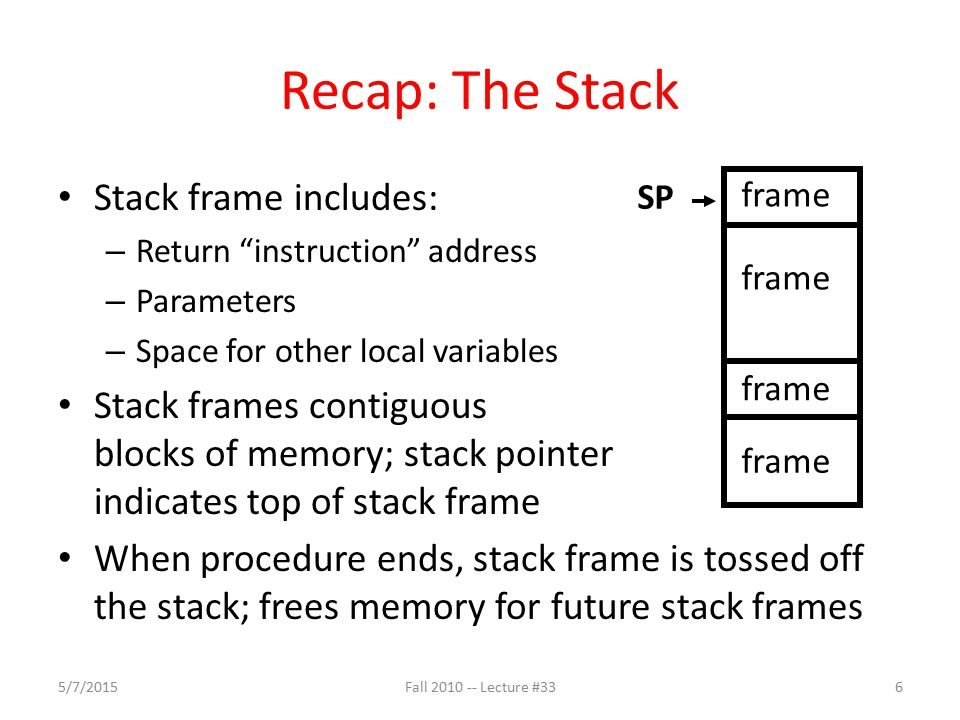 Agenda C Memory Management Administrivia Technology Break Common Memory Problems 5/7/201517Fall 2010 -- Lecture #33