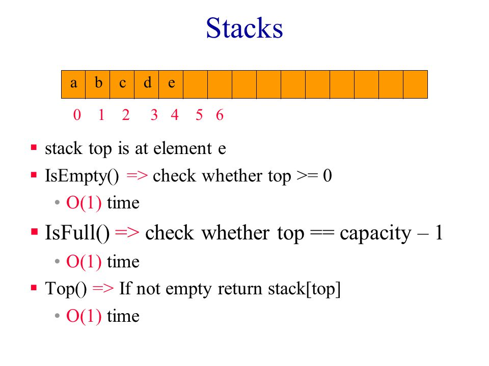 Stacks  stack top is at element e  IsEmpty() => check whether top >= 0 O(1) time  IsFull() => check whether top == capacity – 1 O(1) time  Top() => If not empty return stack[top] O(1) time 0123456 abcde