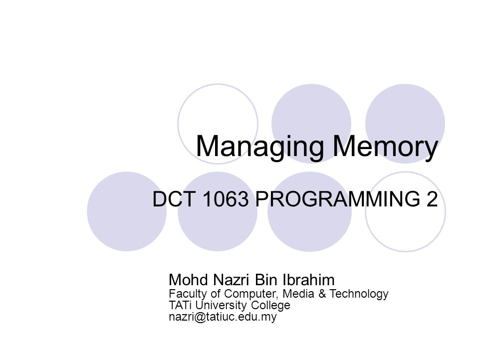 Summary Dynamic memory allow you to create and use data structure that can grow and shrink.