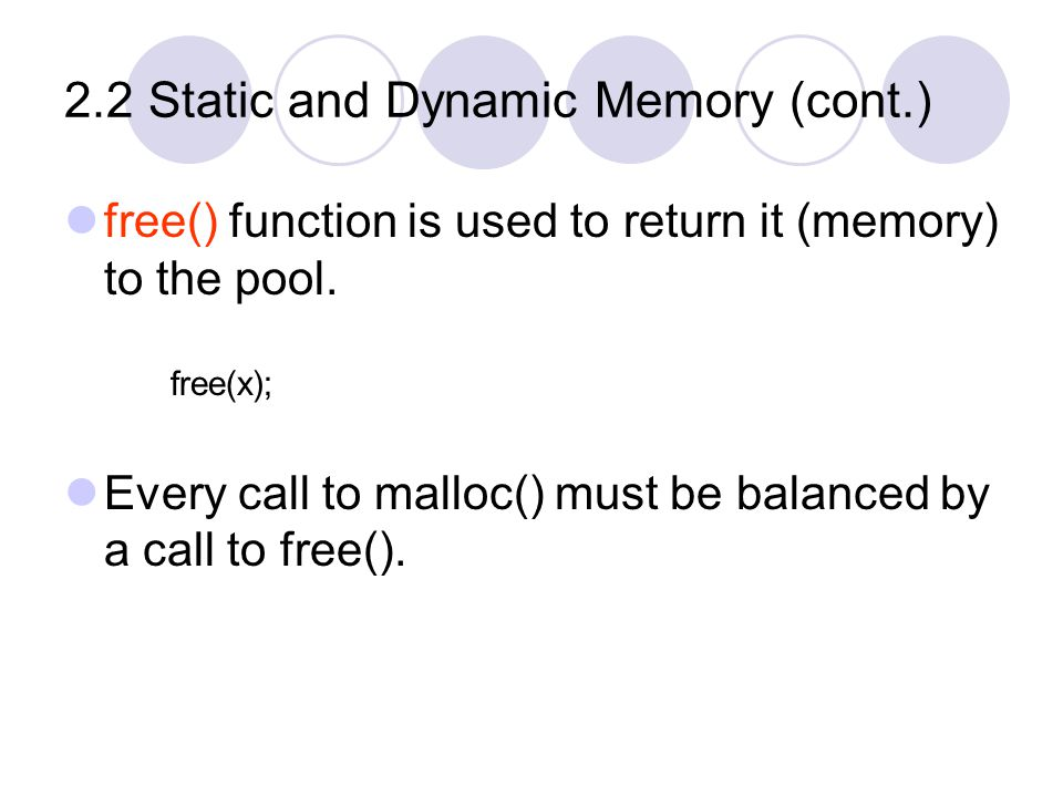 2.2 Static and Dynamic Memory (cont.) malloc() return the starting address of the newly allocated block.