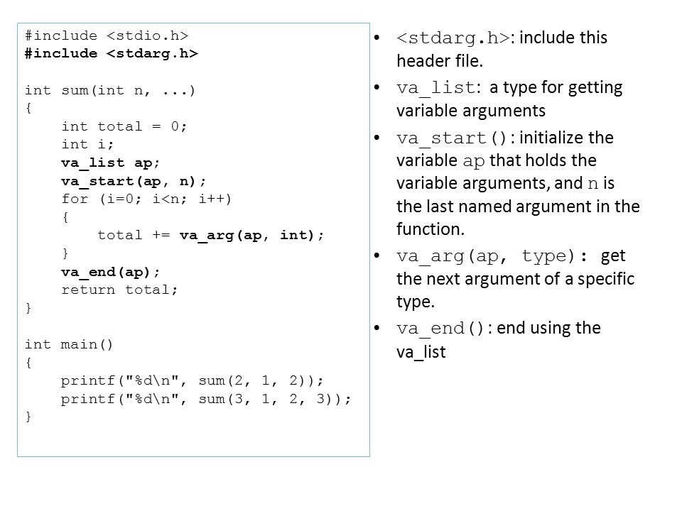 In-Class Exercise 13.1 Write a variable-length argument function, minprintf(), that supports the format string: %d , %s .