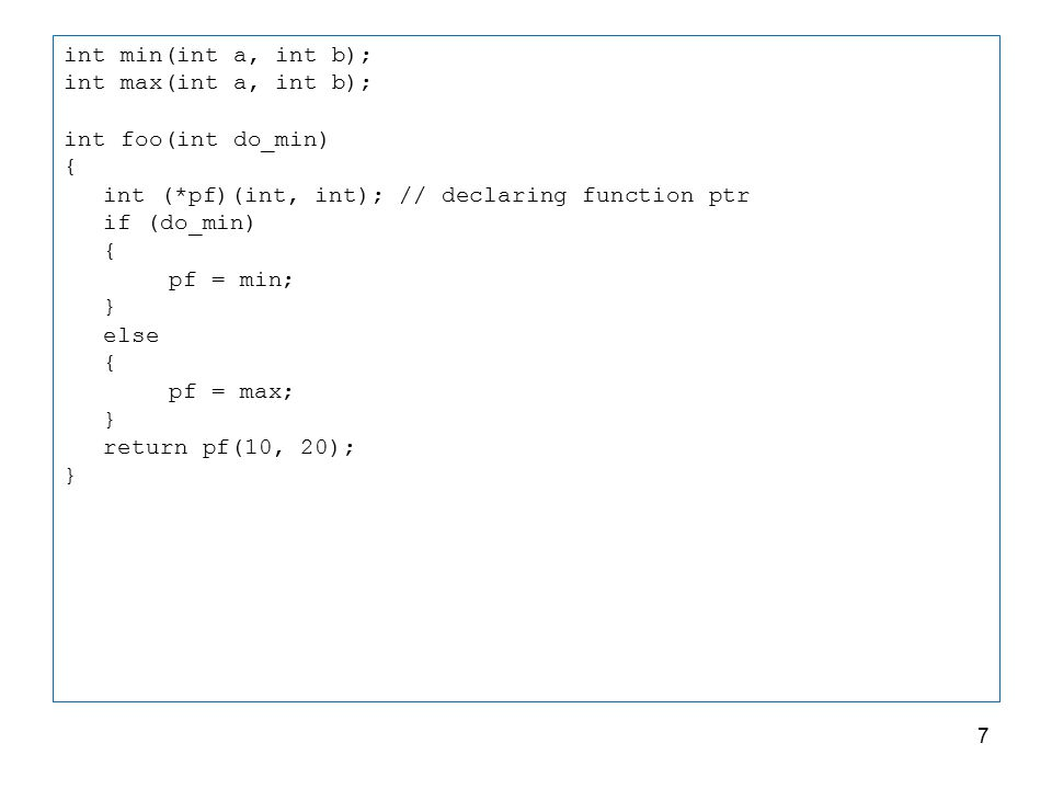 qsort() example void qsort(void * base, size_t num, size_t size, int ( * compar ) ( const void *, const void * ) ); /* qsort example */ #include int values[] = { 40, 10, 100, 90, 20, 25 }; int compare (const void * a, const void * b) { return ( *(int*)a - *(int*)b ); } int main () { int n; qsort (values, 6, sizeof(int), compare); for (n=0; n<6; n++) printf ( %d ,values[n]); return 0; } 8