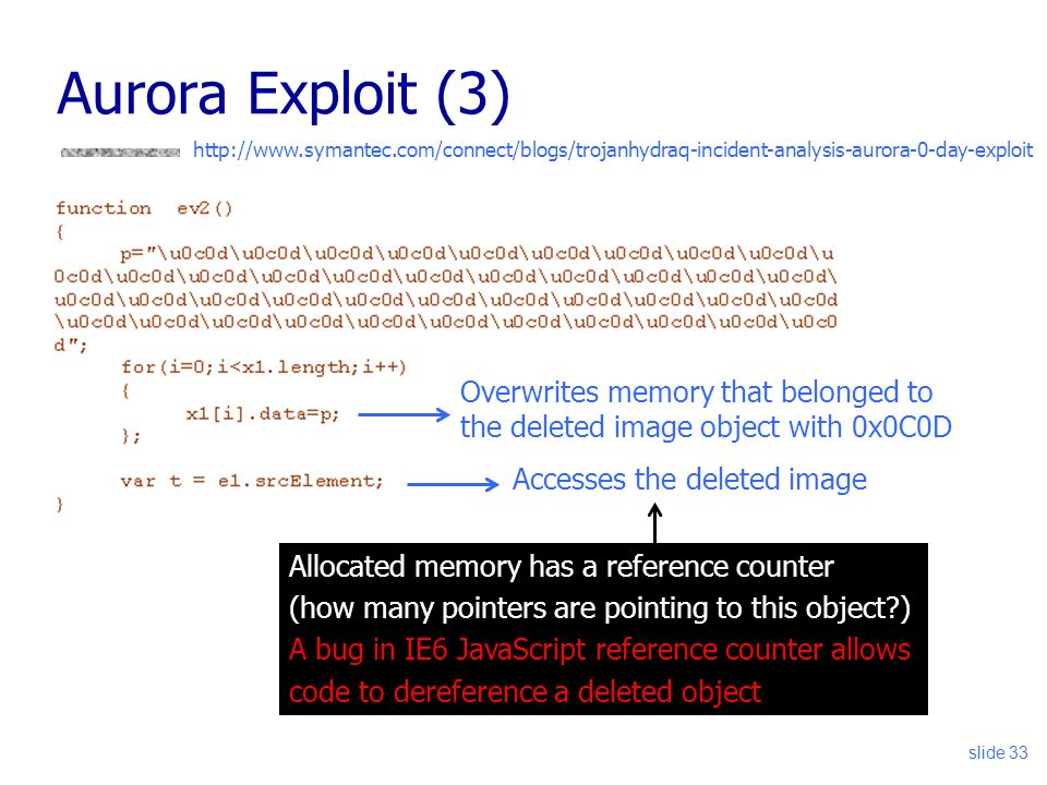 slide 33 Aurora Exploit (3) http://www.symantec.com/connect/blogs/trojanhydraq-incident-analysis-aurora-0-day-exploit Overwrites memory that belonged to the deleted image object with 0x0C0D Accesses the deleted image Allocated memory has a reference counter (how many pointers are pointing to this object ) A bug in IE6 JavaScript reference counter allows code to dereference a deleted object