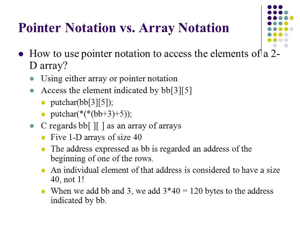 Direct Correspondence Pointer notationArray notation *(aa+20)aa[20] *(bb+12)bb[12] *(cc+9)cc[9]