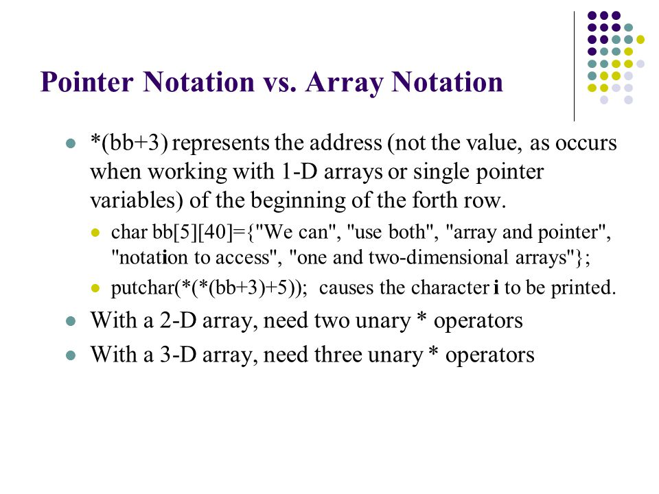 Array Storage Using Dynamic Method
