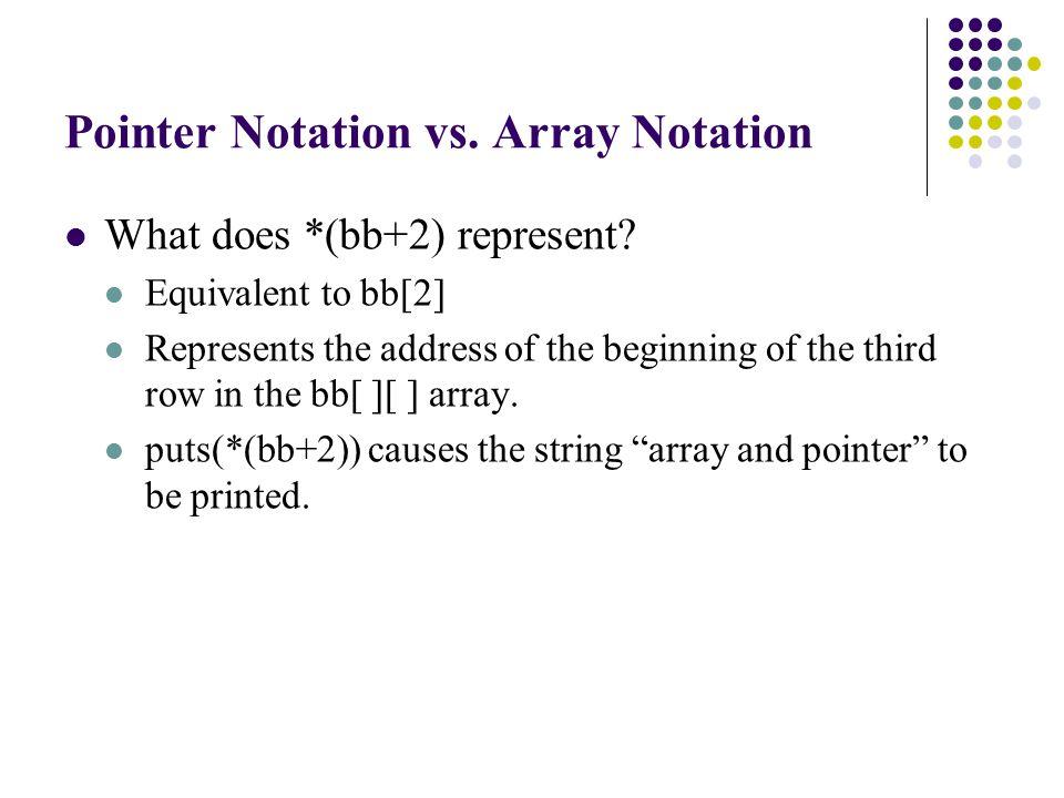 puts(*(bb+2)); dd=&bb[0][0 ]; putchar(*(dd+125)); putchar( \n ); printf( **************** Section 3 3-D array ****************\n ); putchar(cc[1][2 ][3]); putchar(*(*(*(cc+1)+2)+3)); putchar( \n ); puts(*(*(cc+1)+2)); dd=&cc[0][0][0]; putchar(*(dd+80)); putchar( \n ); puts(dd+80); printf( Address of cc[0][0][0]=%p, cc+1=%p, *cc+1=%p, **cc+1=%p\n , &cc[0][0][0],cc+1,*cc+1,**cc+1); }