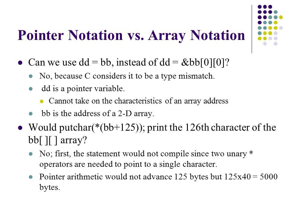 printf( *********** Section 2 - Using malloc *************\n ); strcpy(aa,cc[1]) ; xx=strlen(aa); yy=xx*sizeof(char); bb[1]=(char *)malloc(yy) ; strcpy(bb[1],aa); puts(bb[1]) ; printf( *********** Section 3 - Using realloc *************\n ); strcpy(aa,cc[2]); xx=strlen(aa); yy=xx*sizeof(char); bb[1]=(char *)realloc(bb[1],yy); strcpy(bb[1],aa); puts(bb[1]) ; free(bb[1]); }