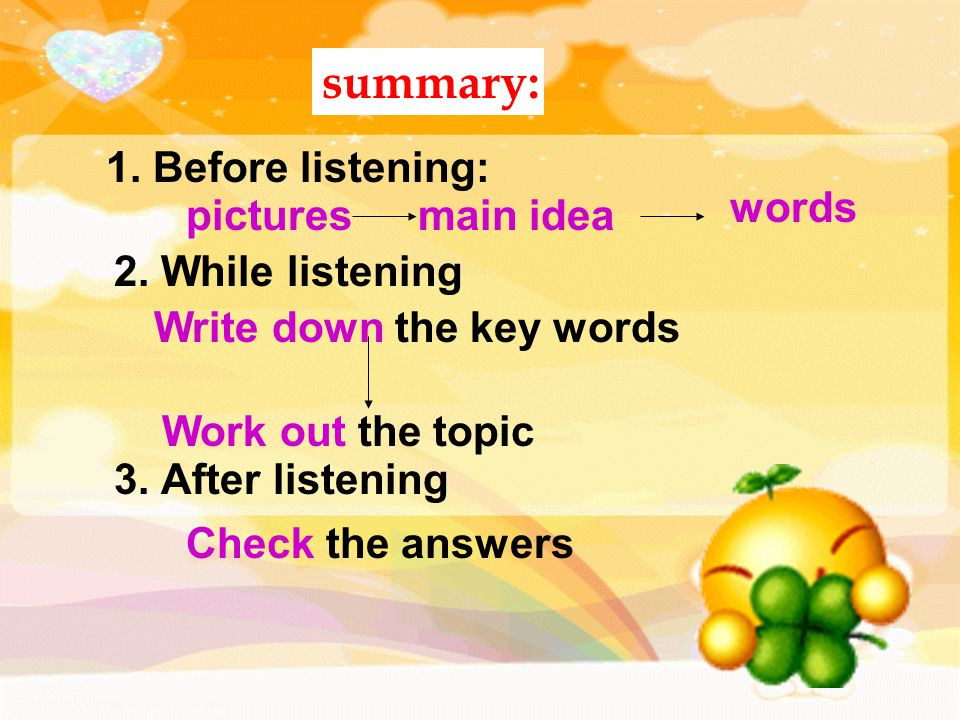1. Before listening: summary: Write down the key words Work out the topic picturesmain idea words 2. While listening 3. After listening Check the answ