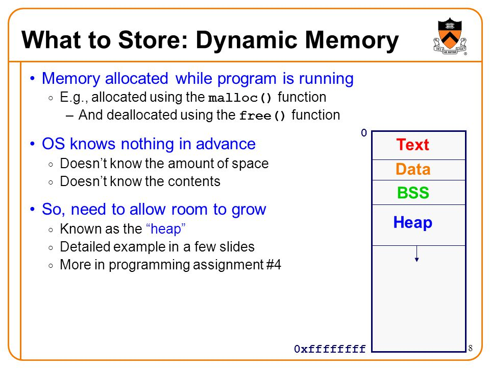 8 What to Store: Dynamic Memory Memory allocated while program is running  E.g., allocated using the malloc() function –And deallocated using the fre
