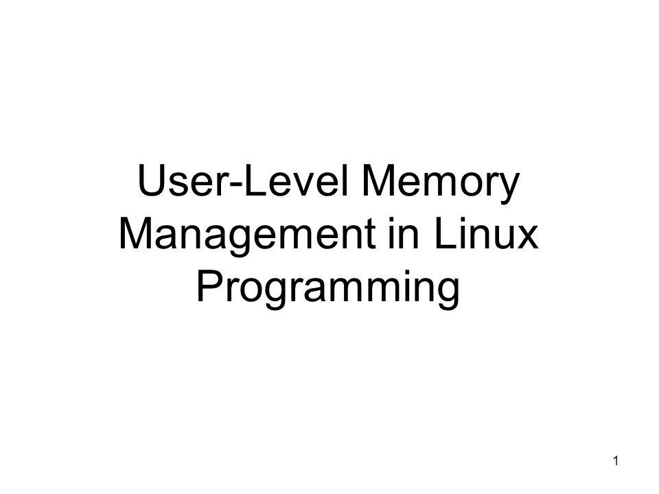 1 User-Level Memory Management in Linux Programming