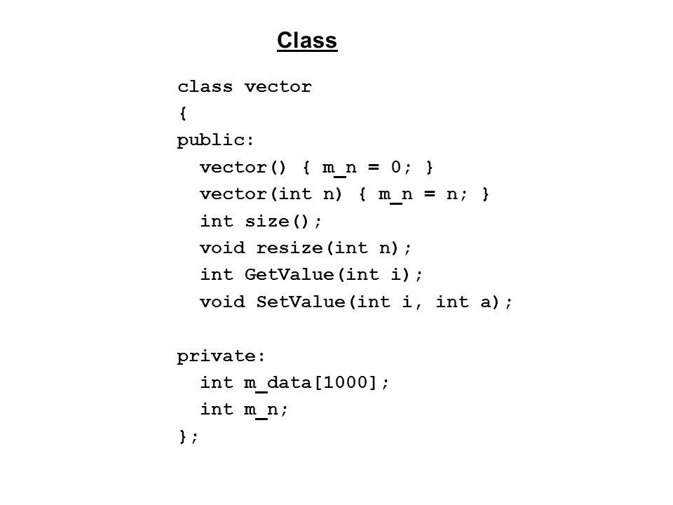 class vector { public: vector() { m_n = 0; } vector(int n) { m_n = n; } int size(); void resize(int n); int GetValue(int i); void SetValue(int i, int a); private: int m_data[1000]; int m_n; }; Class