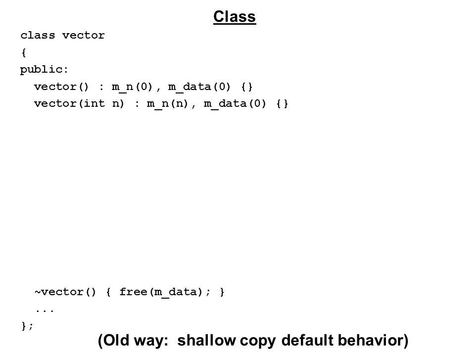 class vector { public: vector() : m_n(0), m_data(0) {} vector(int n) : m_n(n), m_data(0) {} ~vector() { free(m_data); }...