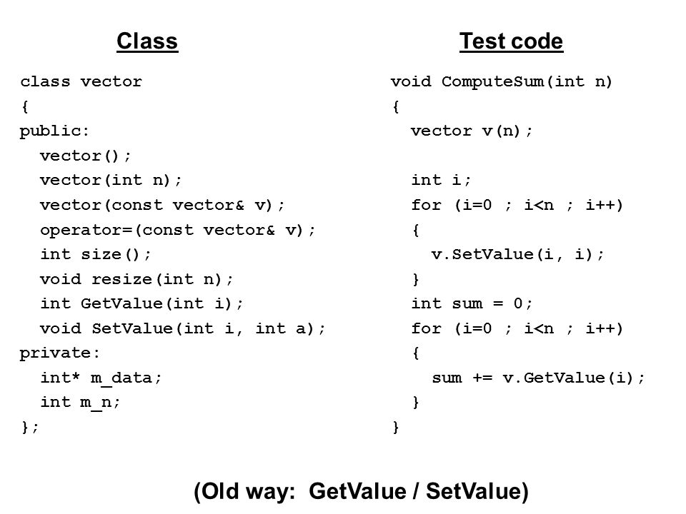 class vector { public: vector(); vector(int n); vector(const vector& v); operator=(const vector& v); int size(); void resize(int n); int GetValue(int i); void SetValue(int i, int a); private: int* m_data; int m_n; }; ClassTest code void ComputeSum(int n) { vector v(n); int i; for (i=0 ; i<n ; i++) { v.SetValue(i, i); } int sum = 0; for (i=0 ; i<n ; i++) { sum += v.GetValue(i); } (Old way: GetValue / SetValue)