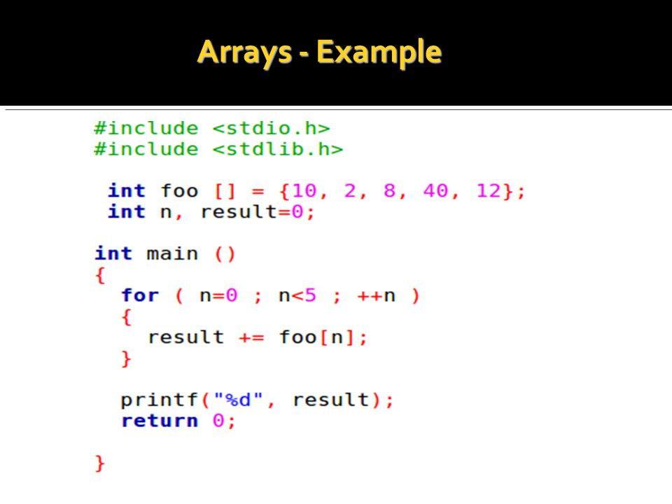 Arrays - Example