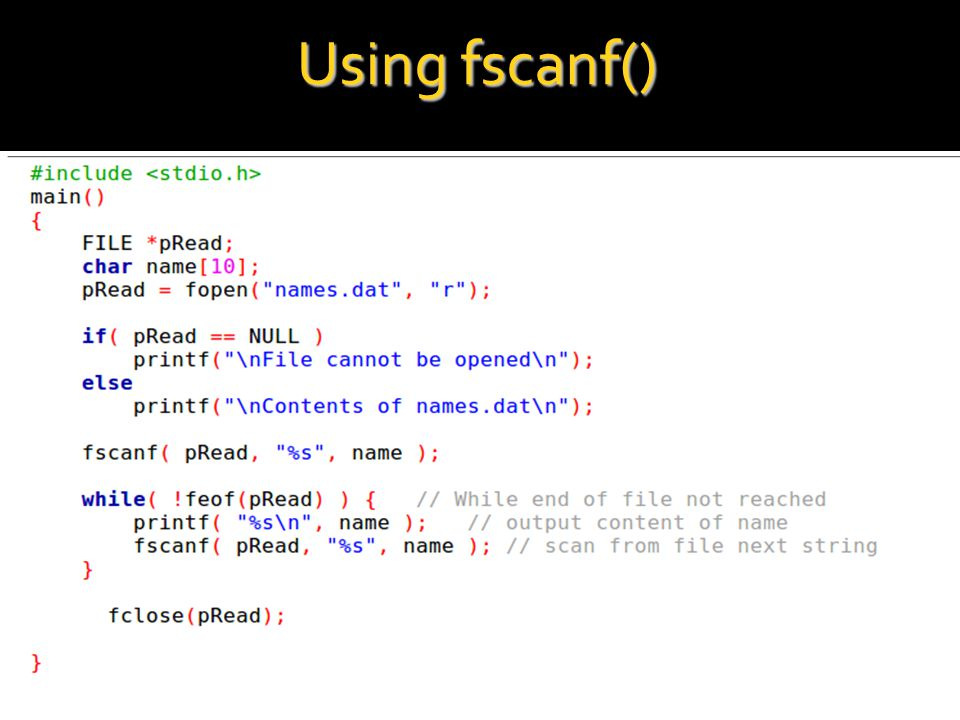 Using fscanf()