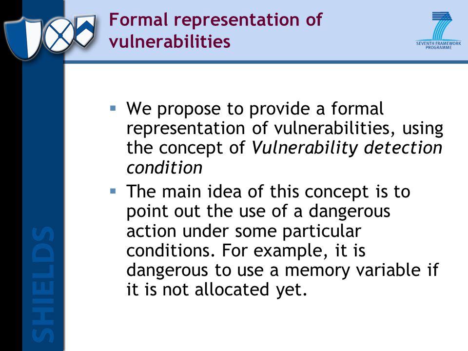 Formal representation of vulnerabilities  We propose to provide a formal representation of vulnerabilities, using the concept of Vulnerability detect