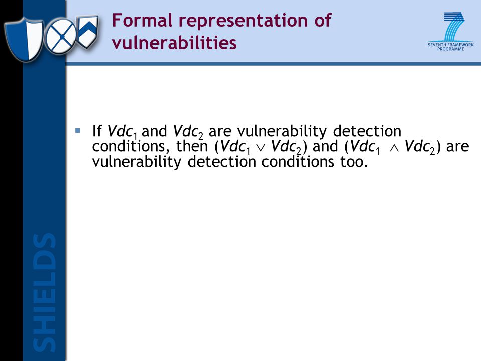 Formal representation of vulnerabilities  If Vdc 1 and Vdc 2 are vulnerability detection conditions, then (Vdc 1  Vdc 2 ) and (Vdc 1  Vdc 2 ) are