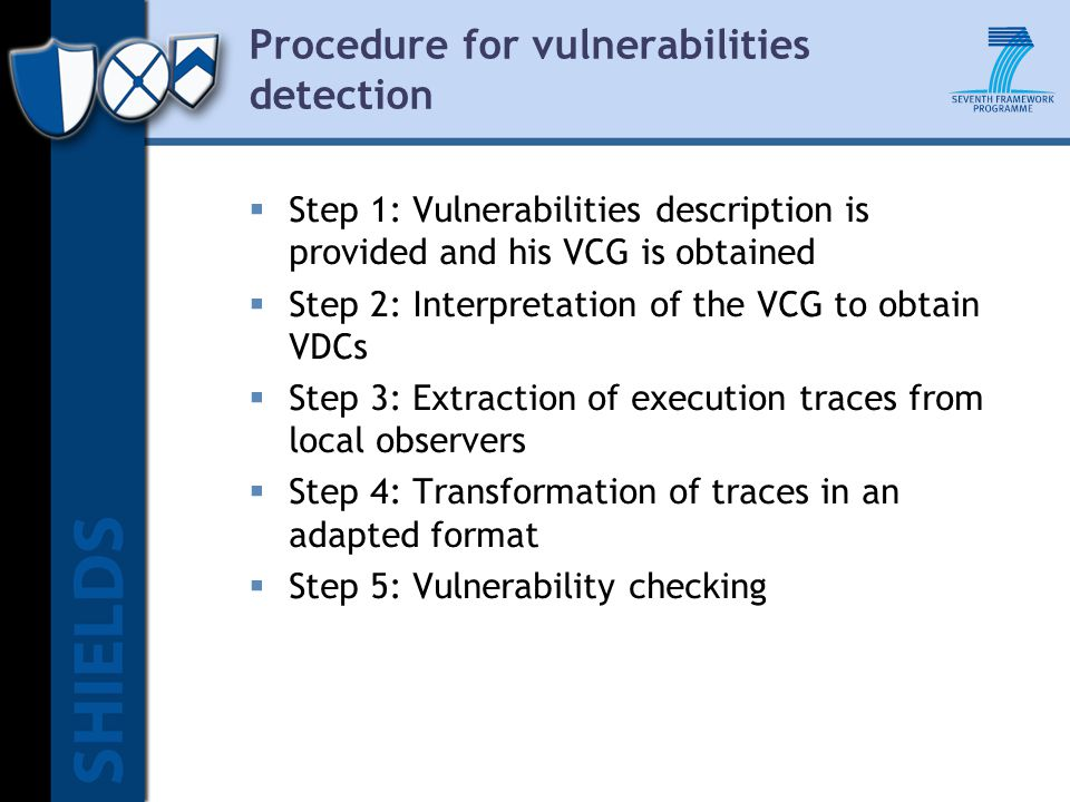 Procedure for vulnerabilities detection  Step 1: Vulnerabilities description is provided and his VCG is obtained  Step 2: Interpretation of the VCG to obtain VDCs  Step 3: Extraction of execution traces from local observers  Step 4: Transformation of traces in an adapted format  Step 5: Vulnerability checking