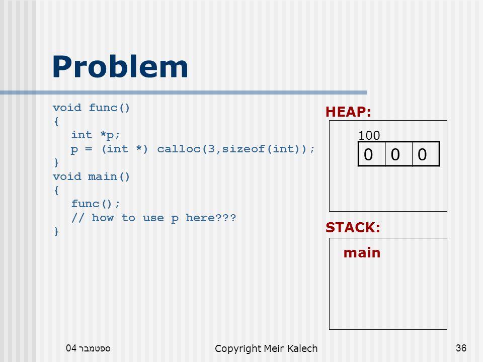 ספטמבר 04Copyright Meir Kalech36 Problem void func() { int *p; p = (int *) calloc(3,sizeof(int)); } void main() { func(); // how to use p here .