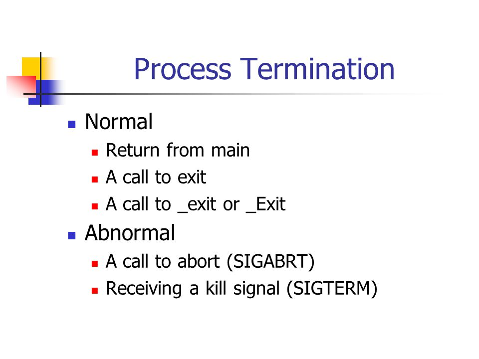 Process Termination Normal Return from main A call to exit A call to _exit or _Exit Abnormal A call to abort (SIGABRT) Receiving a kill signal (SIGTERM)