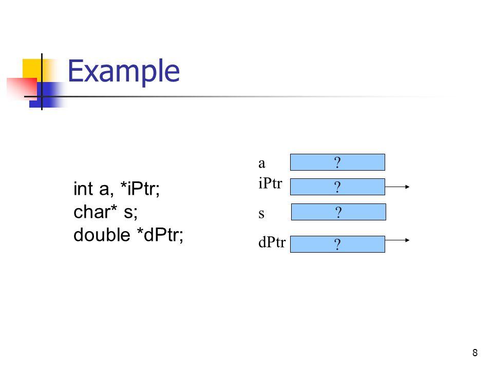 8 Example iPtr s dPtr int a, *iPtr; char* s; double *dPtr; a