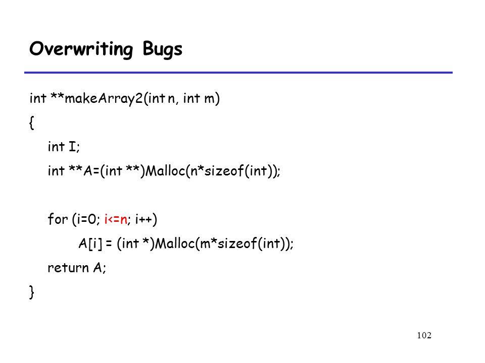 102 Overwriting Bugs int **makeArray2(int n, int m) { int I; int **A=(int **)Malloc(n*sizeof(int)); for (i=0; i<=n; i++) A[i] = (int *)Malloc(m*sizeof(int)); return A; }