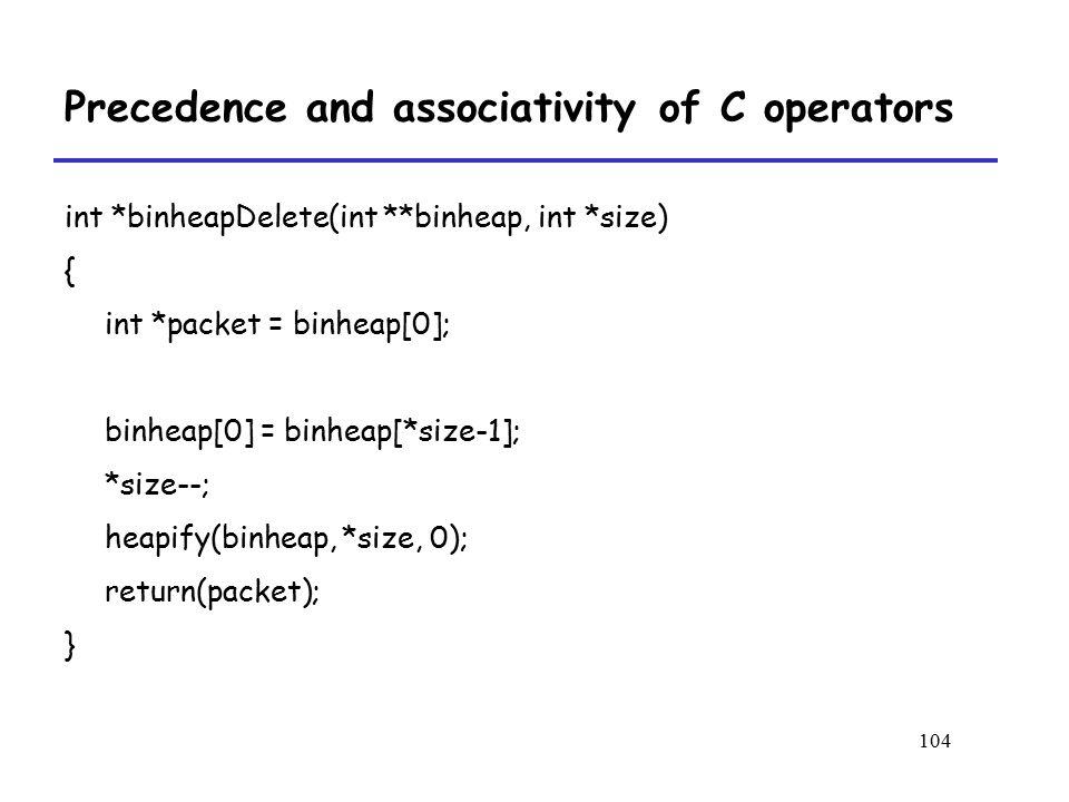 104 Precedence and associativity of C operators int *binheapDelete(int **binheap, int *size) { int *packet = binheap[0]; binheap[0] = binheap[*size-1]; *size--; heapify(binheap, *size, 0); return(packet); }
