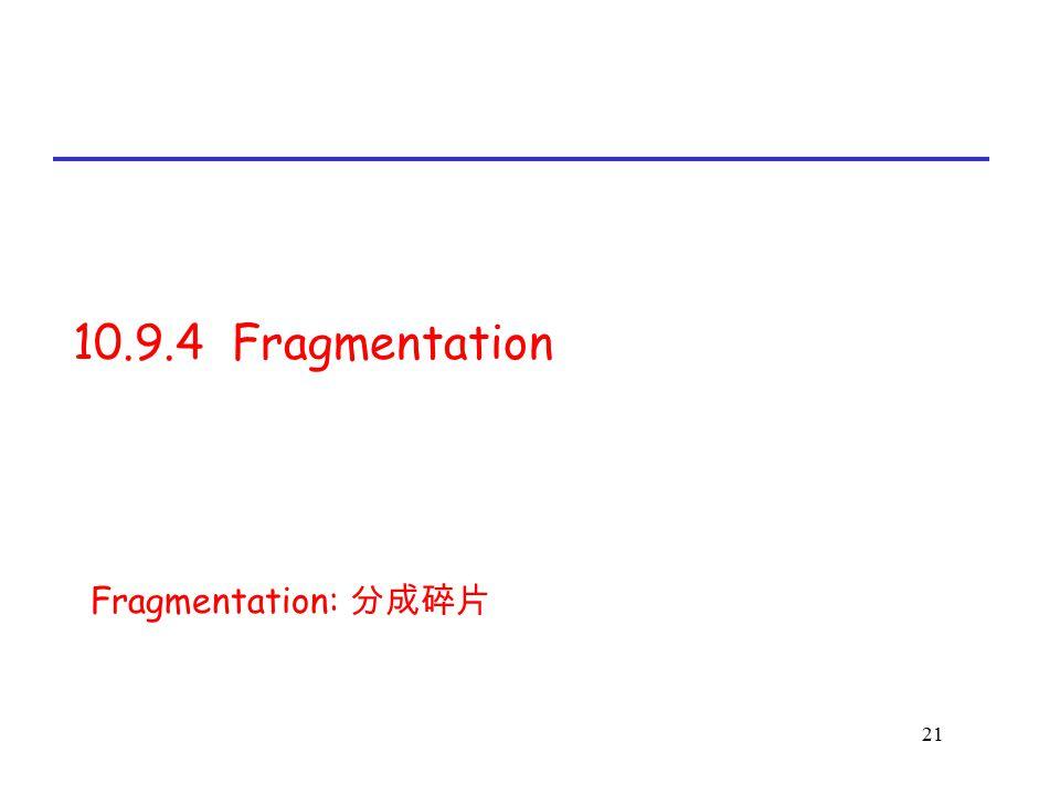 21 10.9.4 Fragmentation Fragmentation: 分成碎片