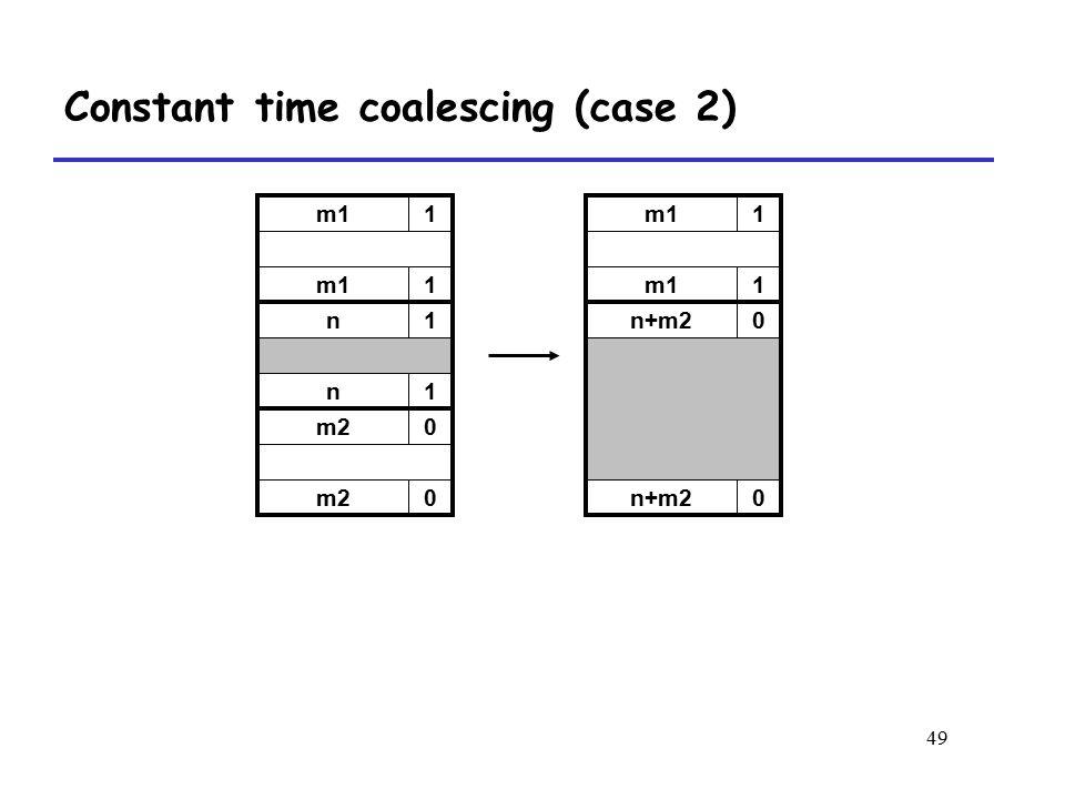 49 m11 1 n+m20 0 m11 1 n1 n1 m20 0 Constant time coalescing (case 2)