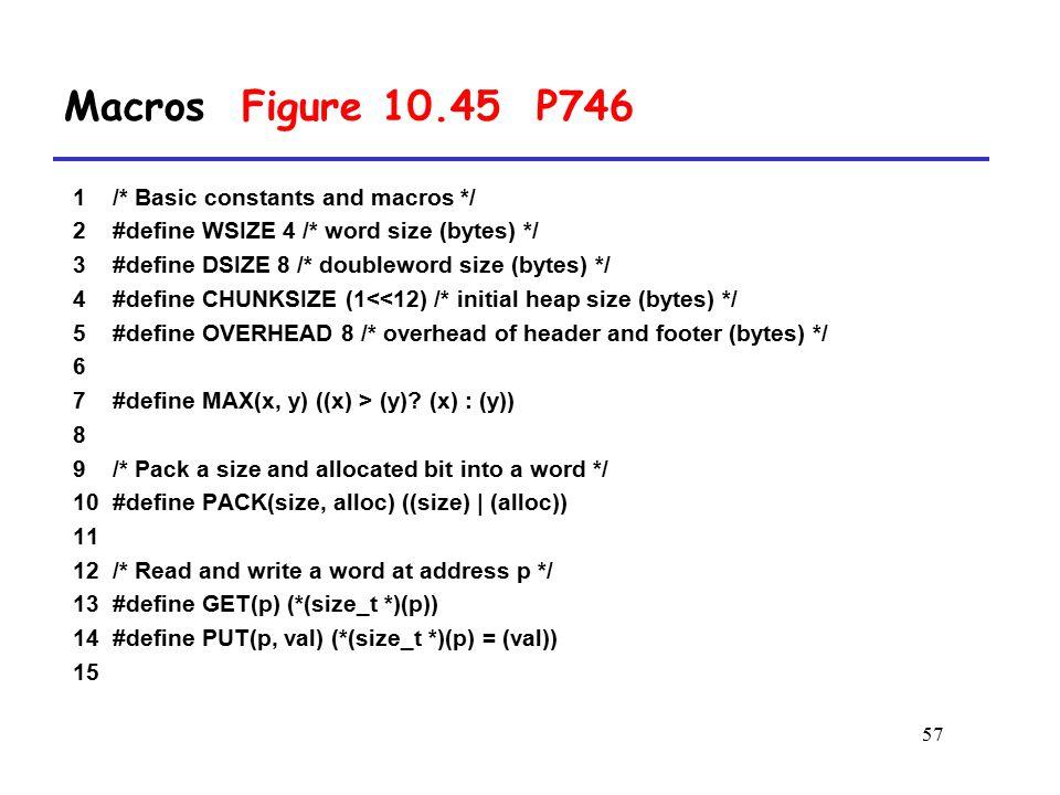 57 1 /* Basic constants and macros */ 2 #define WSIZE 4 /* word size (bytes) */ 3 #define DSIZE 8 /* doubleword size (bytes) */ 4 #define CHUNKSIZE (1<<12) /* initial heap size (bytes) */ 5 #define OVERHEAD 8 /* overhead of header and footer (bytes) */ 6 7 #define MAX(x, y) ((x) > (y).