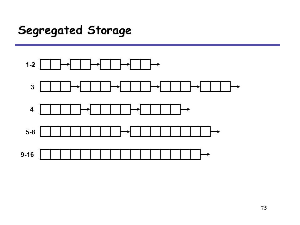 75 Segregated Storage 1-2 3 4 5-8 9-16