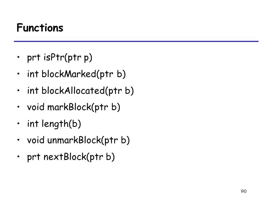 90 Functions prt isPtr(ptr p) int blockMarked(ptr b) int blockAllocated(ptr b) void markBlock(ptr b) int length(b) void unmarkBlock(ptr b) prt nextBlock(ptr b)