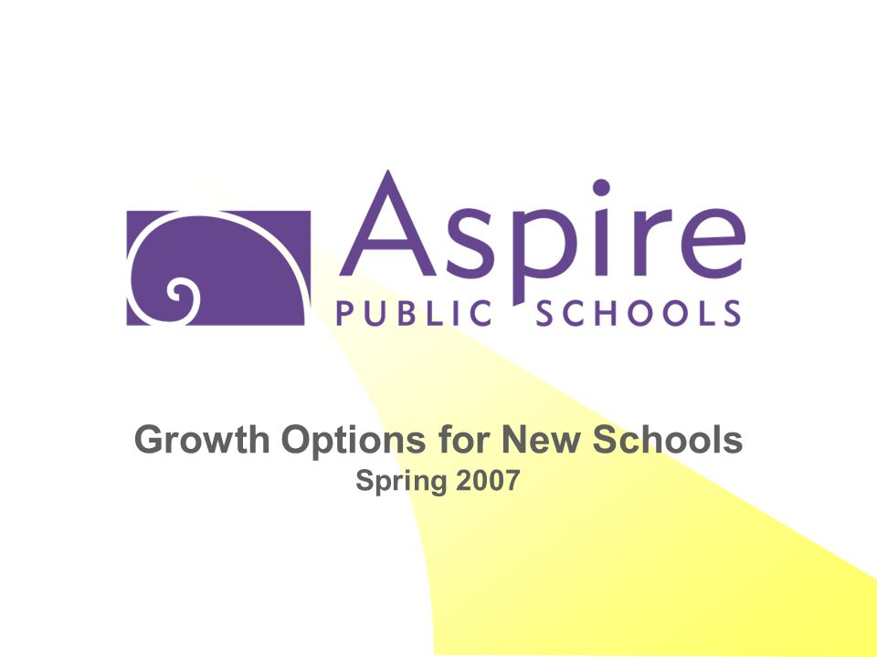 Growth Options for New Schools Spring 2007